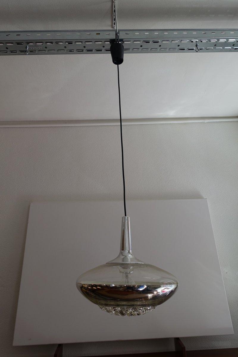 Verchromte Glas Deckenlampe von Peill & Putzler, 1970er