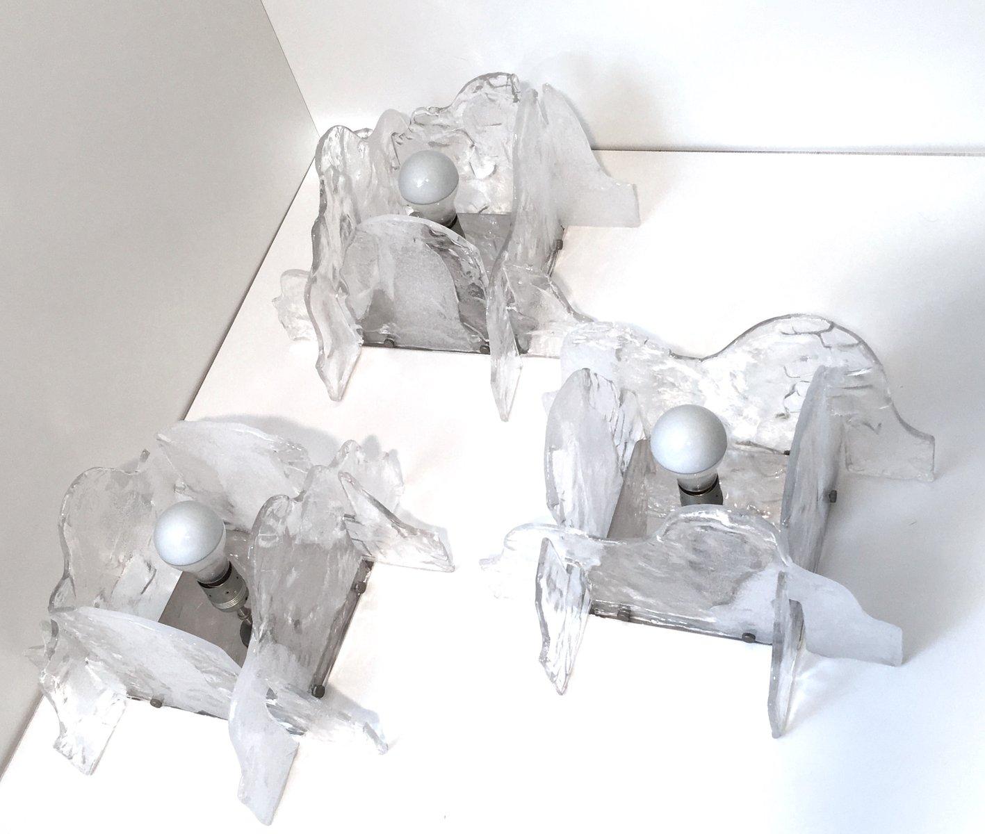 Eisglas Deckenlampen von Carlo Nason für Mazzega, 1960er, 3er Set