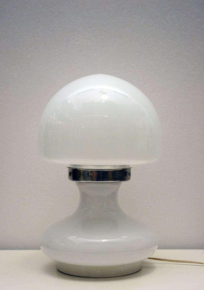 Murano Tischlampe aus Geblasenem Lattimo Glas mit Elementen aus Chrom ...