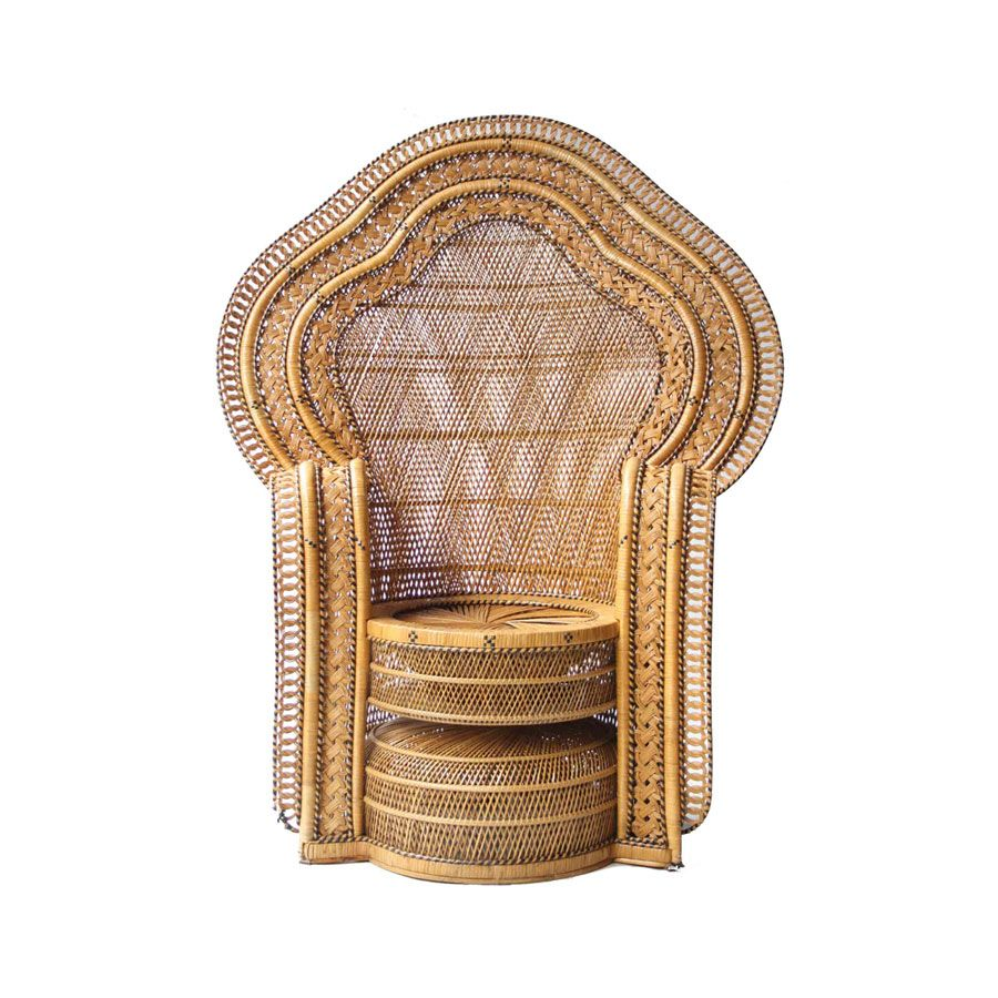 Gewebter Französischer Vintage Sessel, 1960er