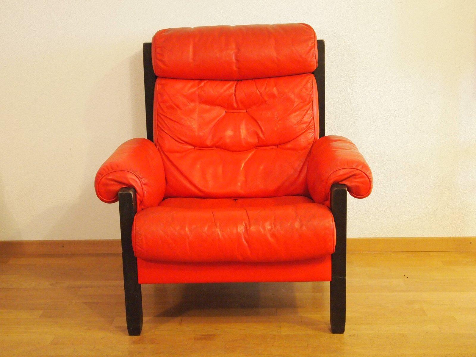 Roter Vintage Ledersessel von de Sede