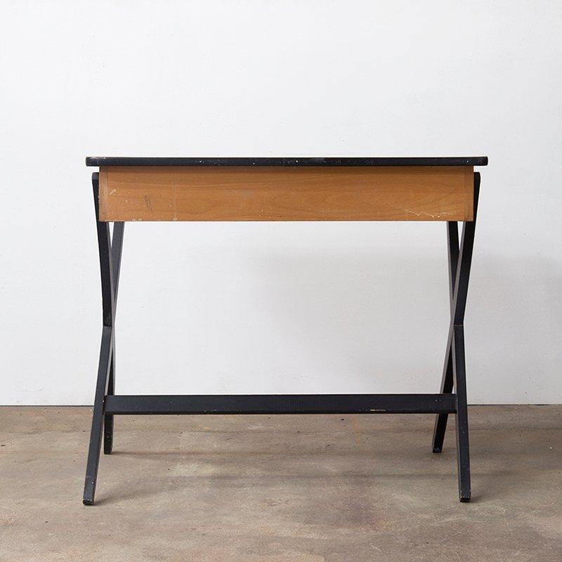 Vintage holz schreibtisch mit formica platte von devo bei for Schreibtisch mit aufsatz holz