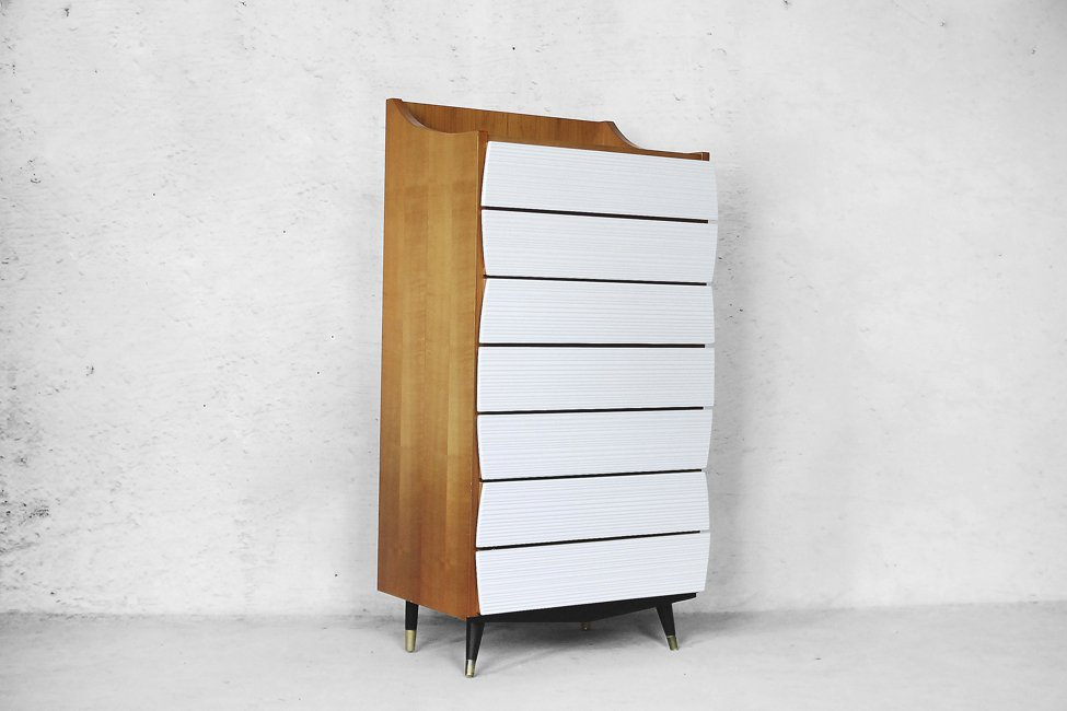 Scandinavian Modern Tall Chest With Drawers 1970s