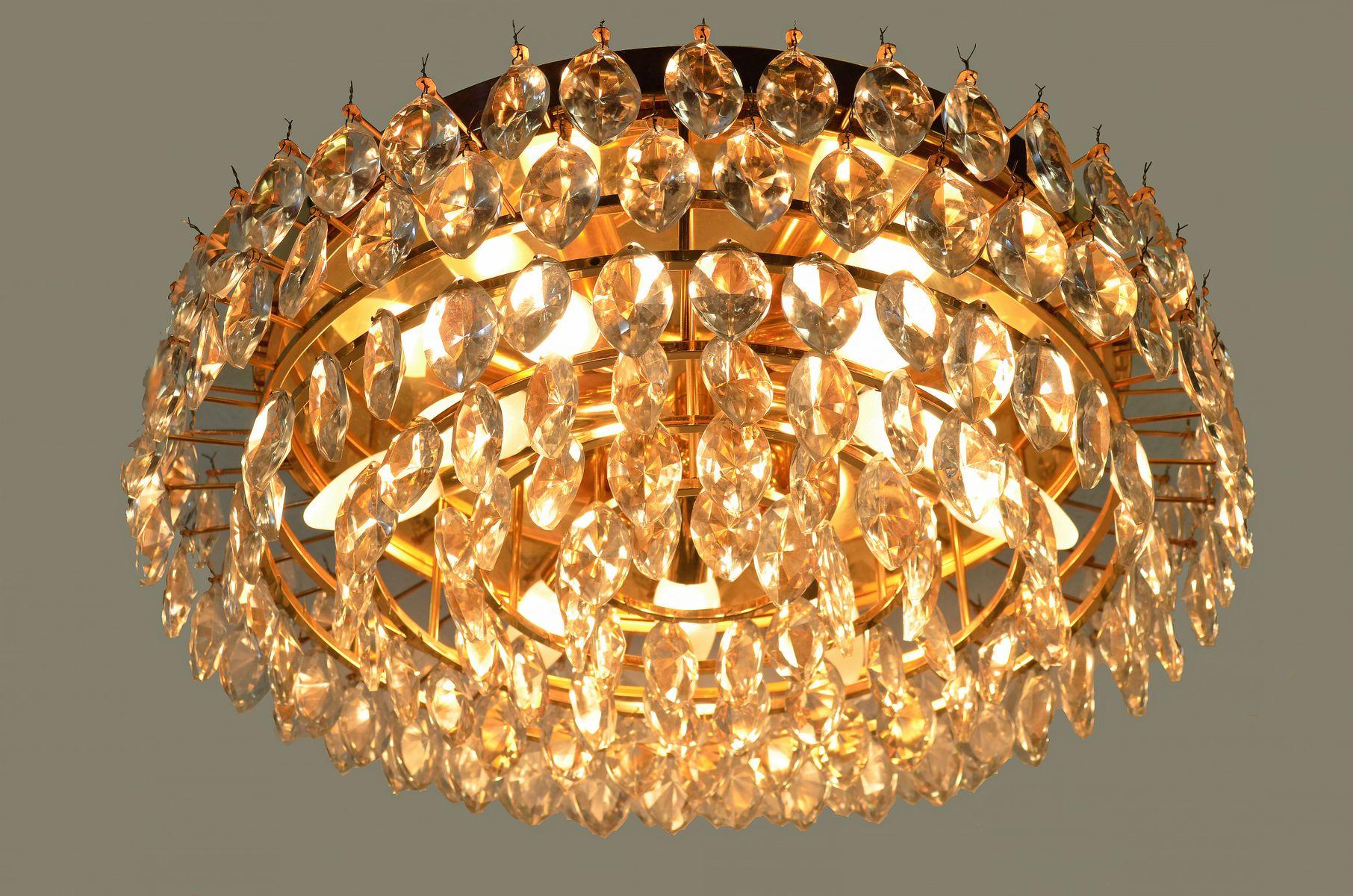 sterreichische deckenleuchte aus vergoldetem messing und kristallglas von lobmeyr 1970er bei. Black Bedroom Furniture Sets. Home Design Ideas