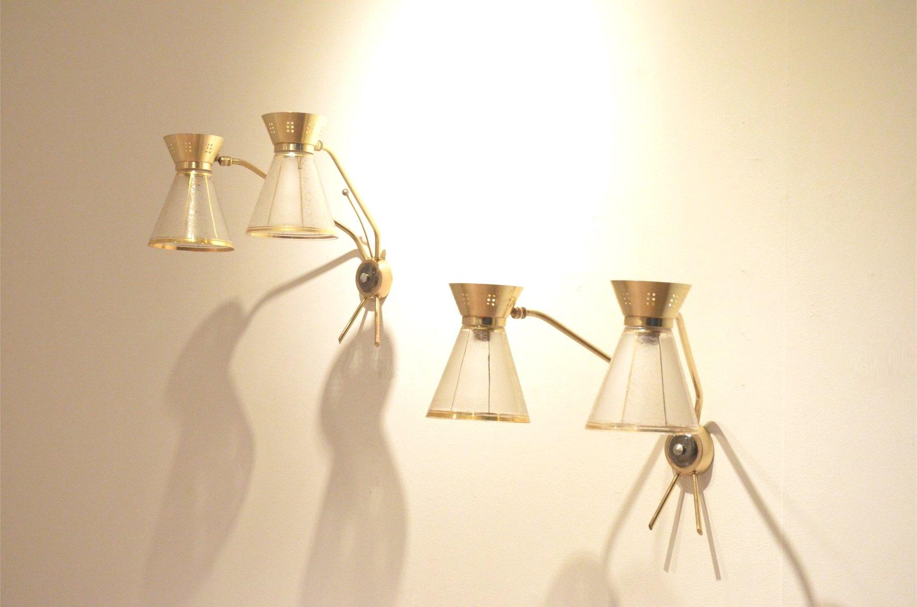 Applique da parete a forma di diabolo in vetro francia anni