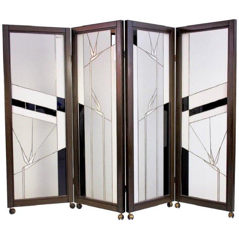 Biombo vintage de madera y vidrio de plomo de poliarte en - Biombos de madera ...