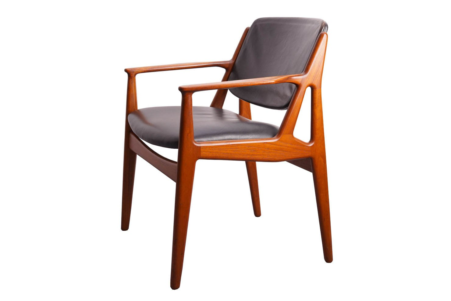 Mid Century Teak Leather Chair By Arne Vodder For Vamo Sondeborg