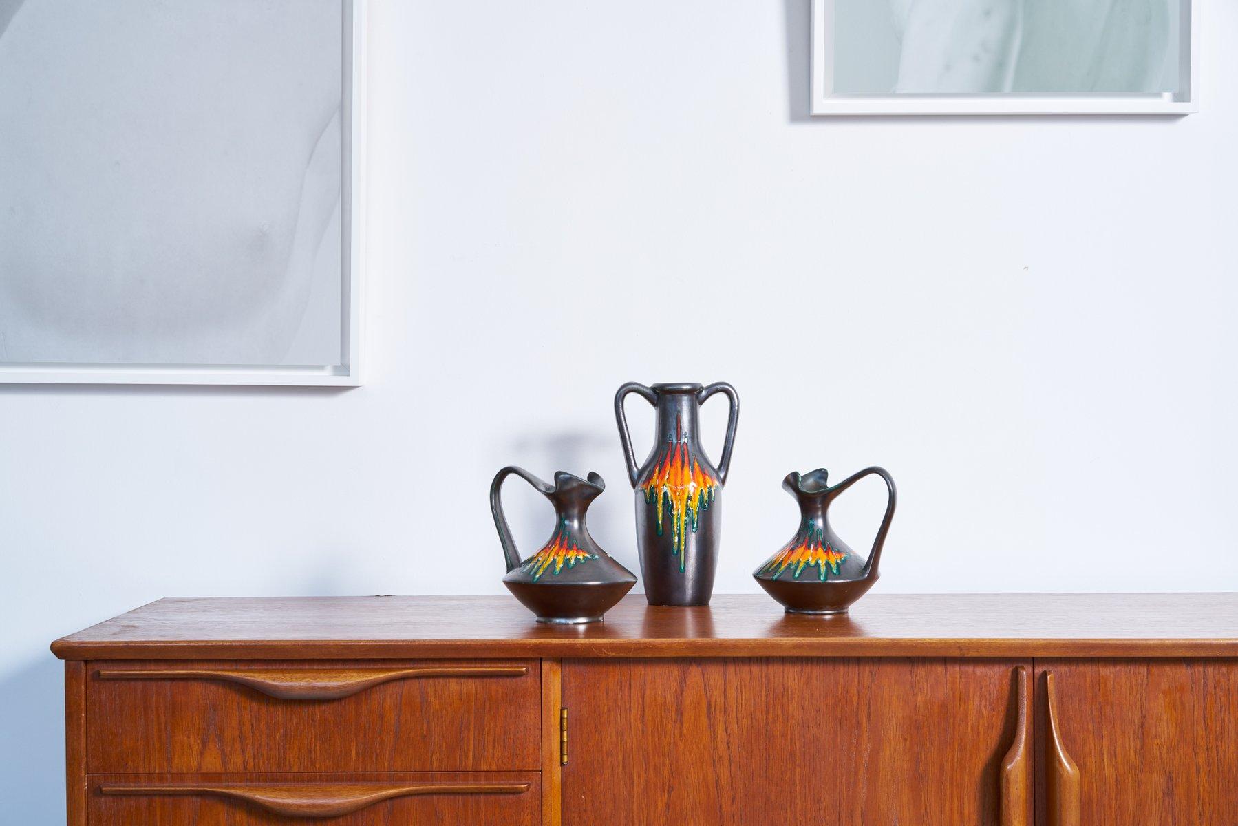 Italienische Keramik, 1960er, 3er Set
