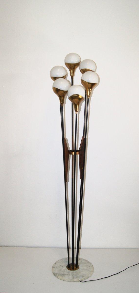 Mid-Century Stehleuchte mit Opalglas Schirmen von Stilnovo