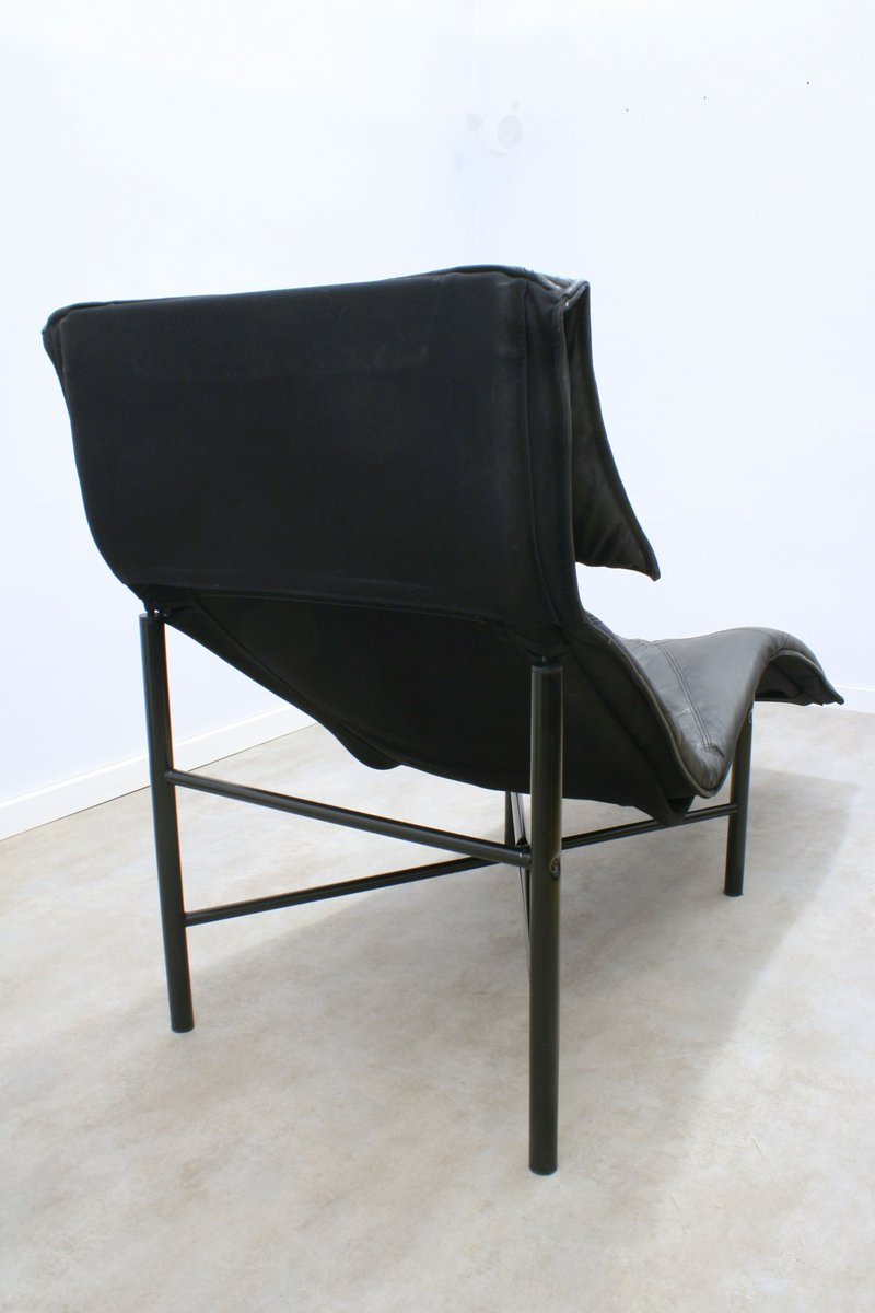 Black leather skye chaise longue by tord bj rklund for ikea 1980s for sale at pamono - Chaise noire ikea ...