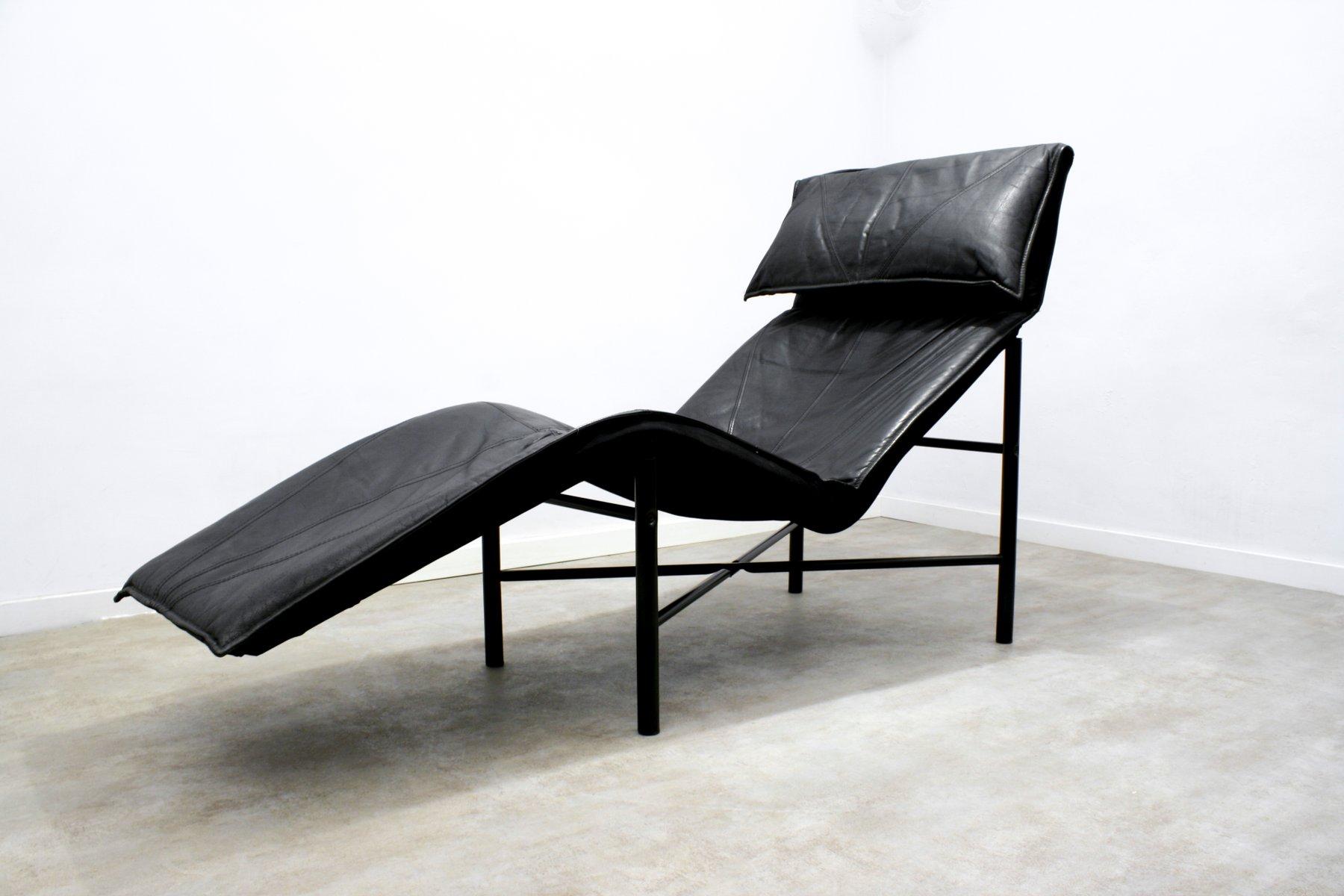chaise longue skye en cuir noir par tord bj rklund pour ikea 1980s en vente sur pamono