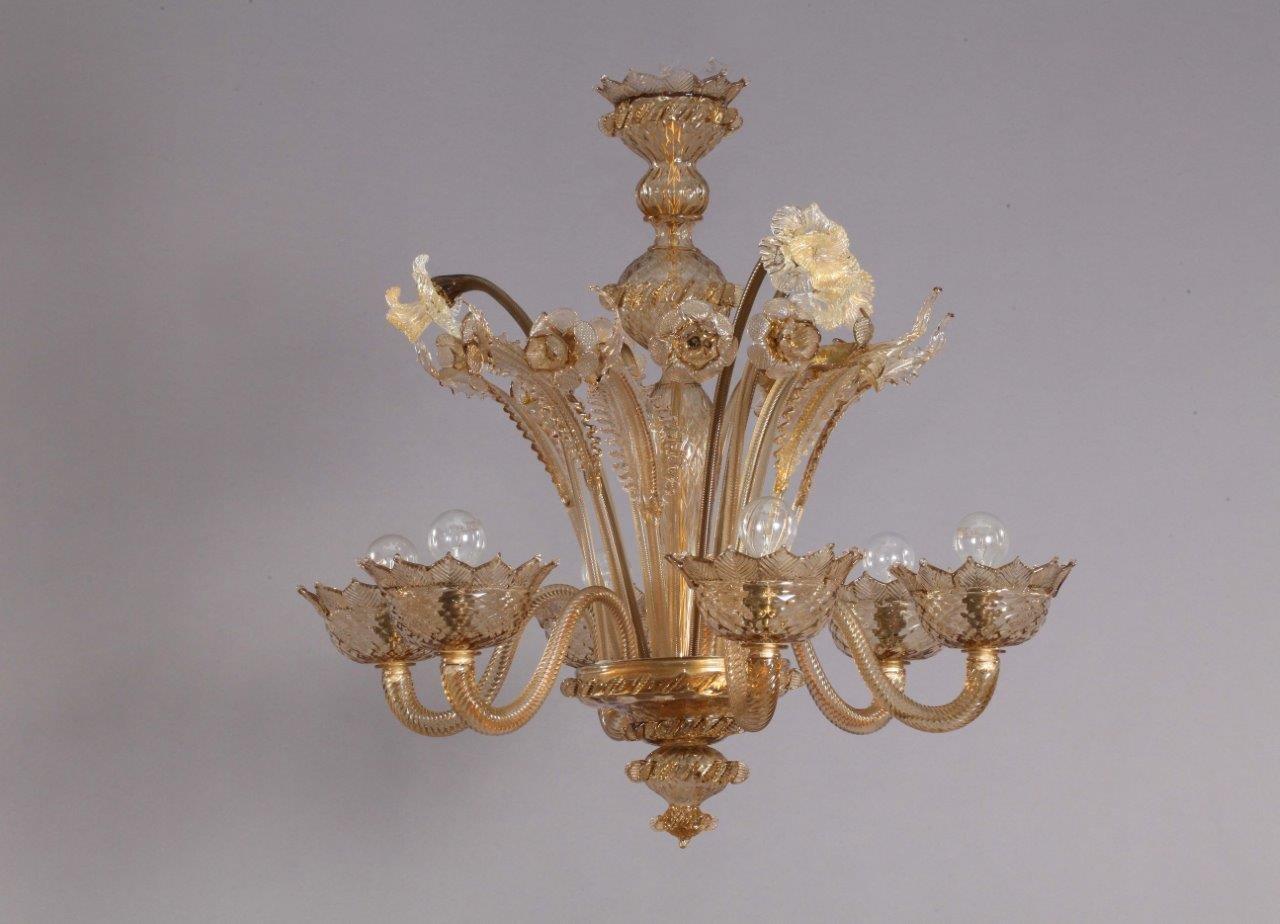 Lampadario in vetro soffiato di murano italia anni 40 in vendita