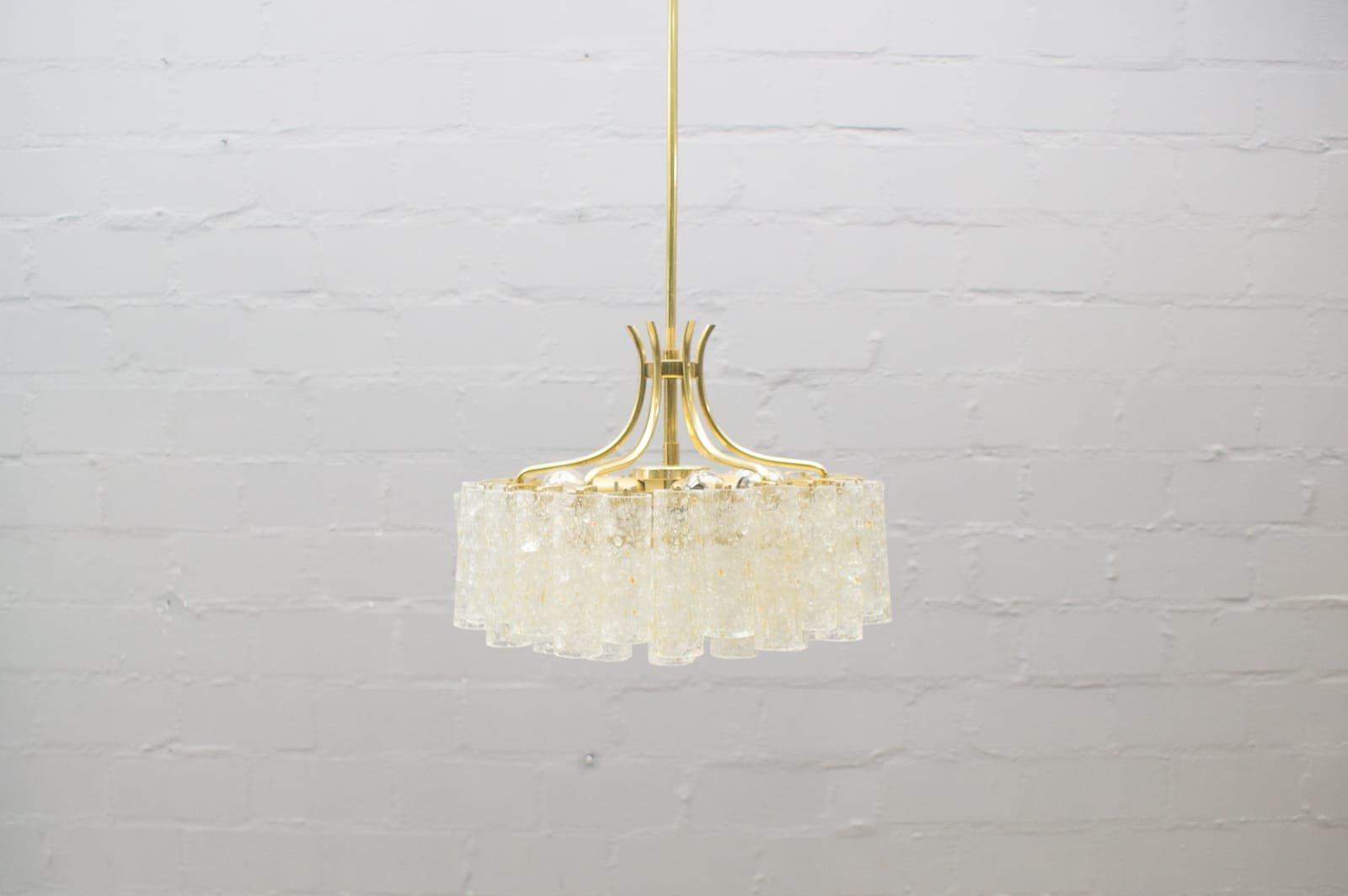 Glasröhren Kronleuchter mit Drei Ebenen von Doria Leuchten, 1960er