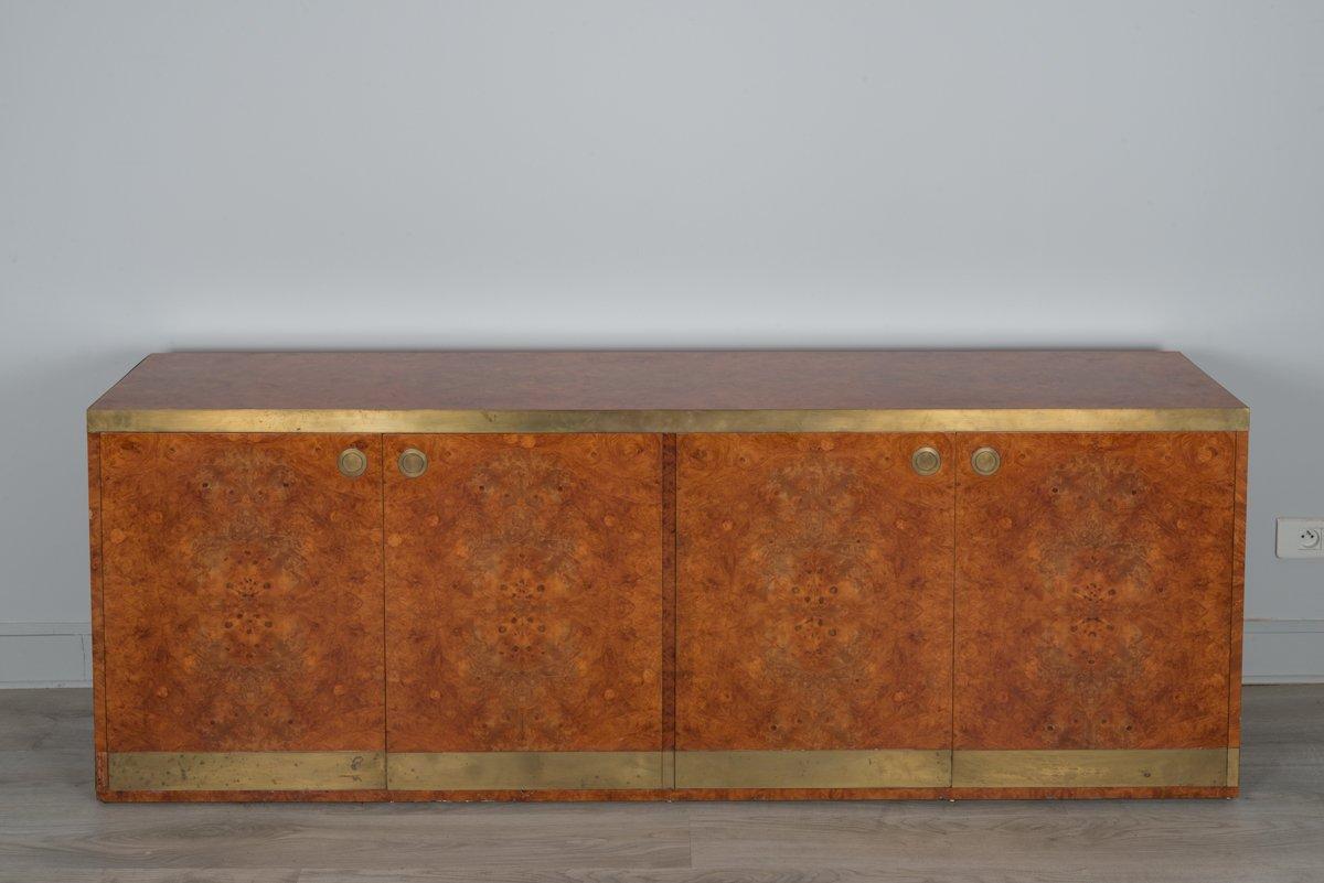 Vintage Sideboard aus Ulmenholz Furnier und Messing von Willy Rizzo