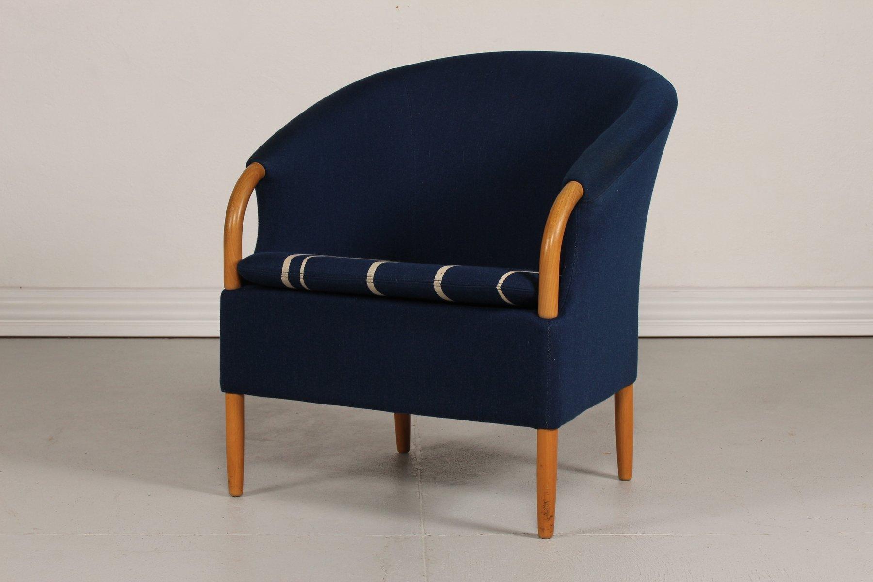 Dänischer Opus Sessel mit Blauem Wollbezug von Jeki Møbler, 1980er
