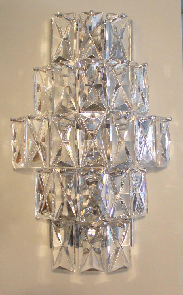 Vintage Kristallglas Wandleuchte von Kinkeldey