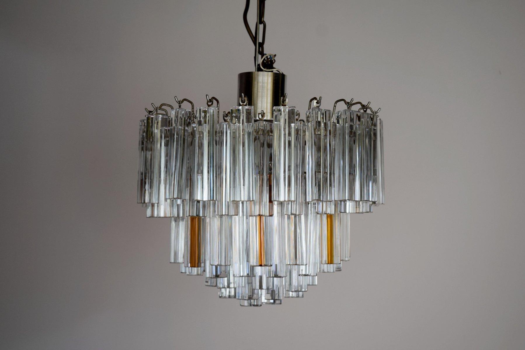 chandelier mid century moderne en verre transparent et ambr en vente sur pamono. Black Bedroom Furniture Sets. Home Design Ideas