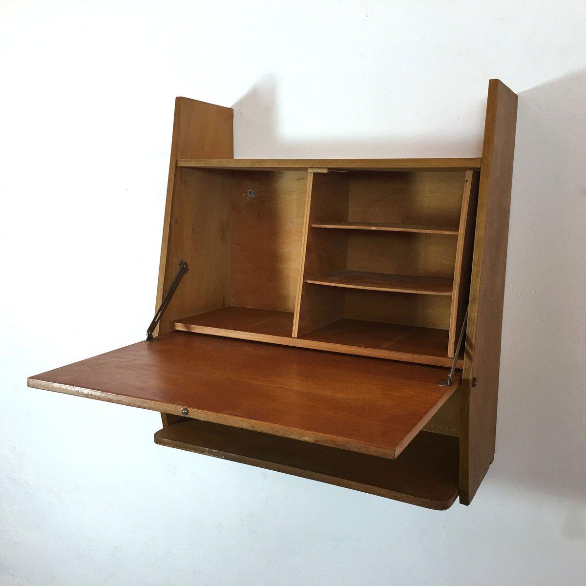 wandmontierter mid century schreibtisch bei pamono kaufen. Black Bedroom Furniture Sets. Home Design Ideas