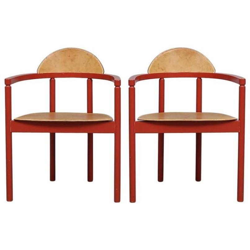Ledersessel von Karl Andersson & Söner, 1950er, 2er Set