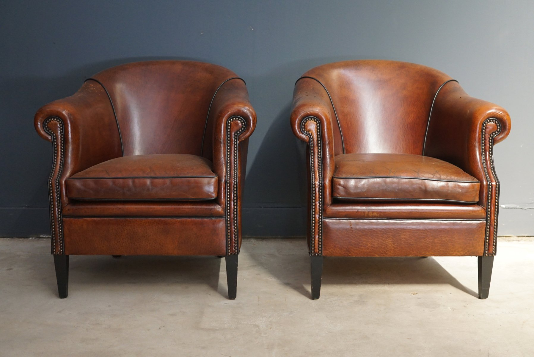 Vintage Cognac Leather Club Chairs Set Of 2