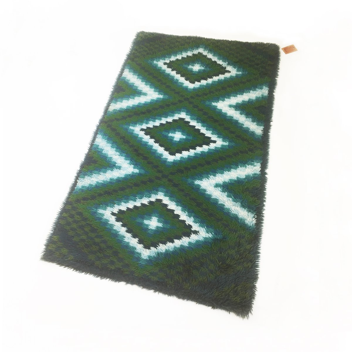 Scandinavian Square Pattern Rya Rug By Ege Taepper 1960s