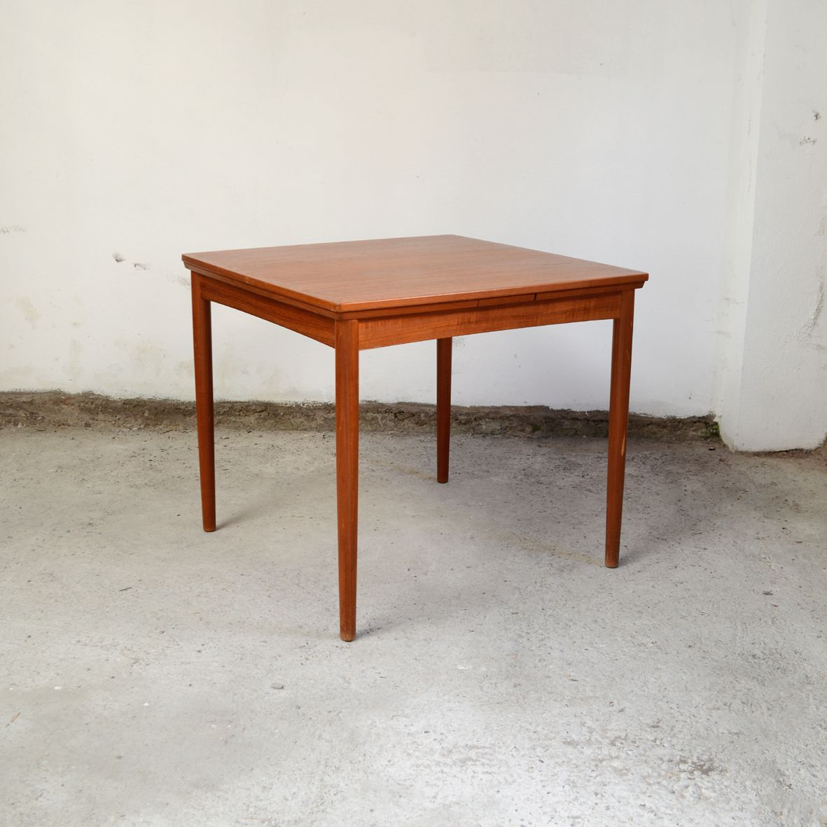 Mid-Century Teak Square Dining Room Table By Poul Hundevad