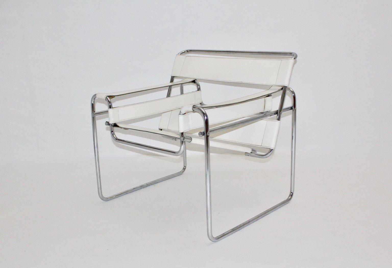 chaise wassily blanche vintage par marcel breuer en vente sur pamono. Black Bedroom Furniture Sets. Home Design Ideas
