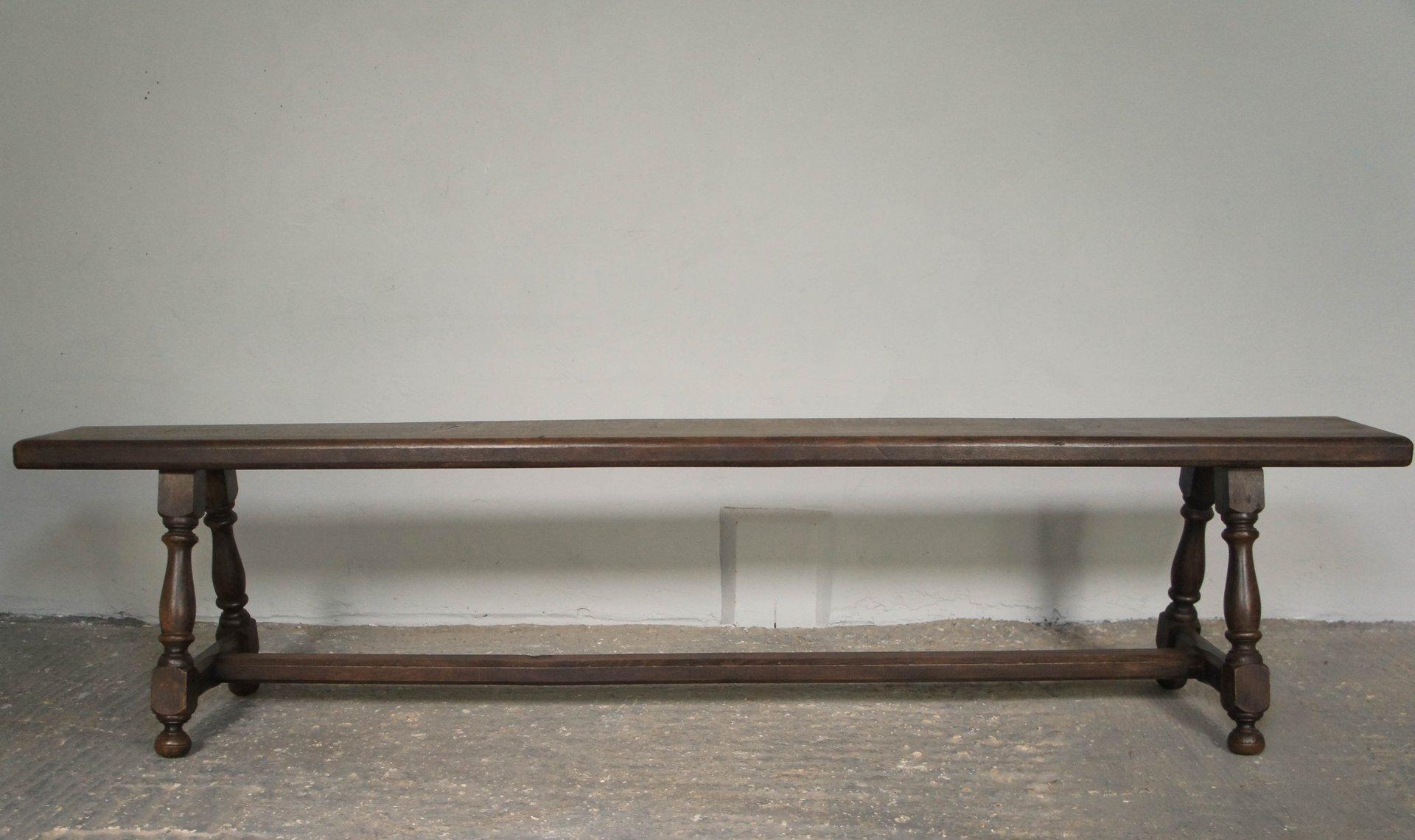 Englische Eichenholz Sitzbänke, 19. Jh., 2er Set
