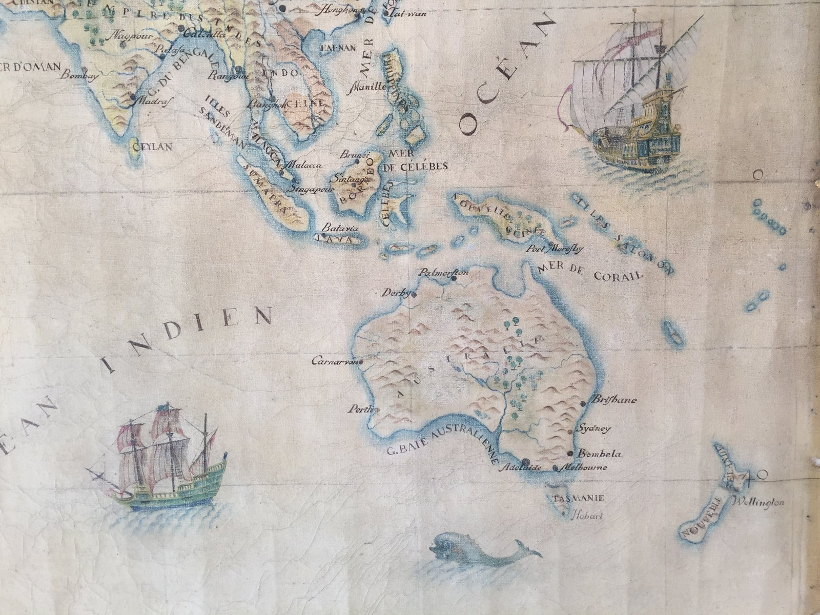Large vintage world map in oil on canvas for sale at pamono price per piece gumiabroncs Images