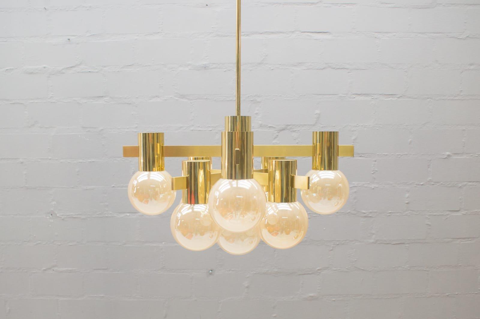 Deckenlampe aus 6 Glasleuchten von Gaetano Sciolari, 1960er