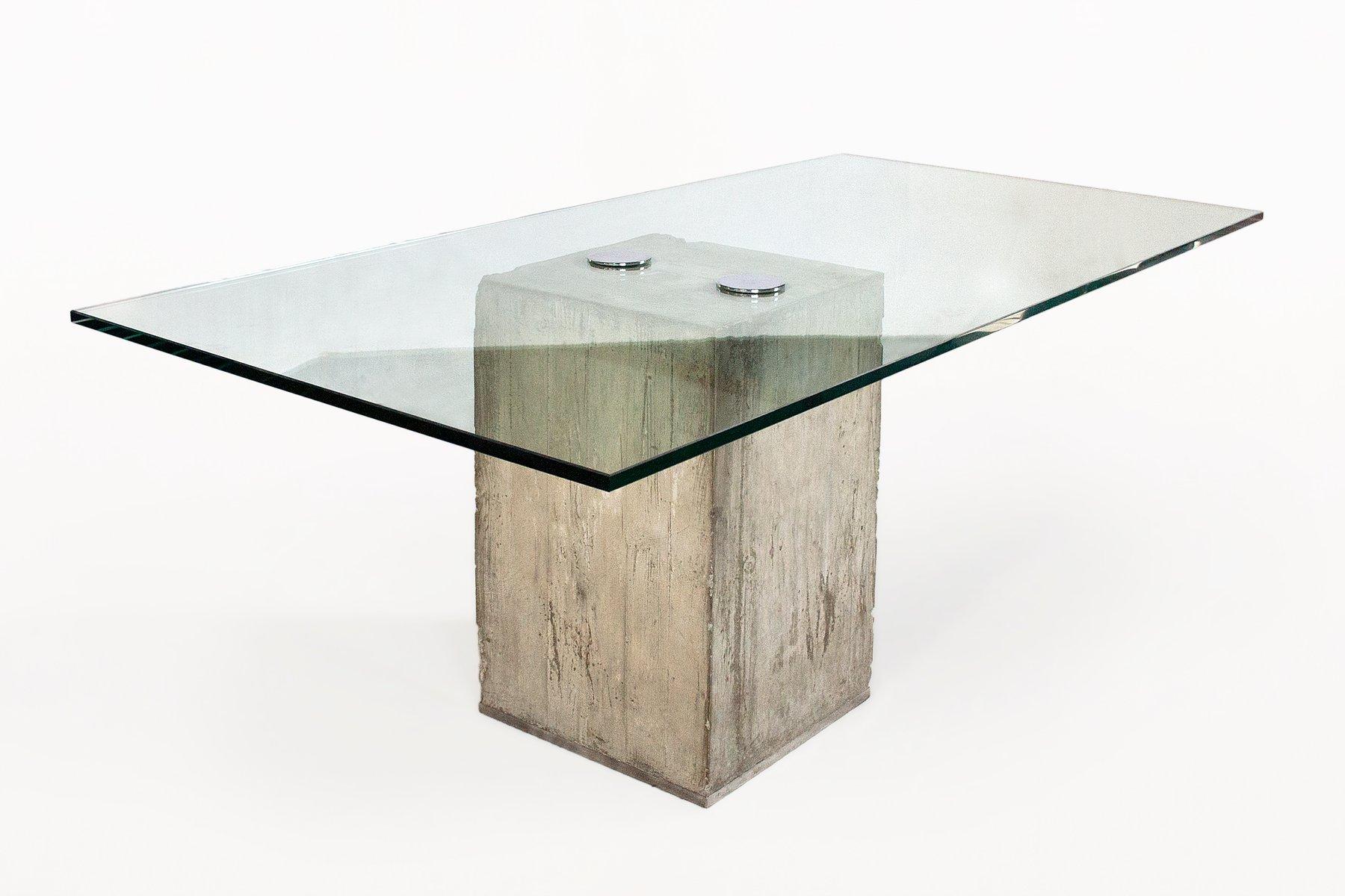 esstisch aus glas beton von sergio giorgio sporiti 1970er bei pamono kaufen. Black Bedroom Furniture Sets. Home Design Ideas