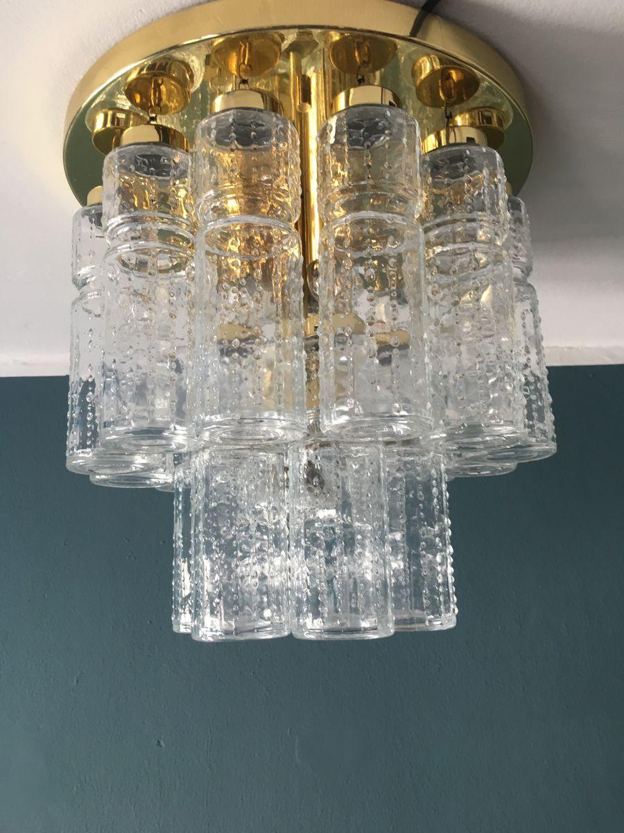 Zweistufige Glas- und Messing Deckenlampe von Glashütte Limburg, 1960e...