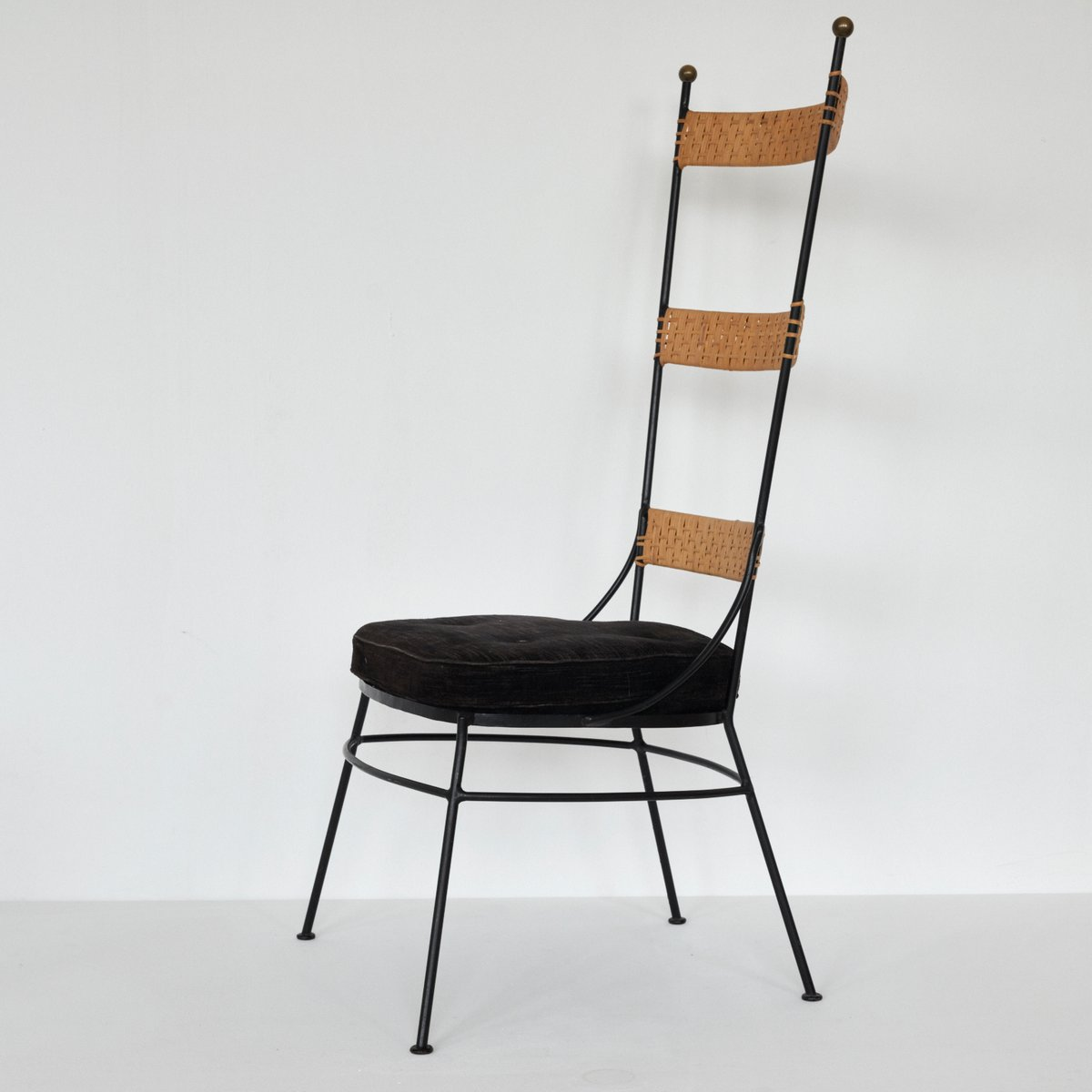 Stuhl Aus Metall & Rattan 1950er Bei Pamono Kaufen