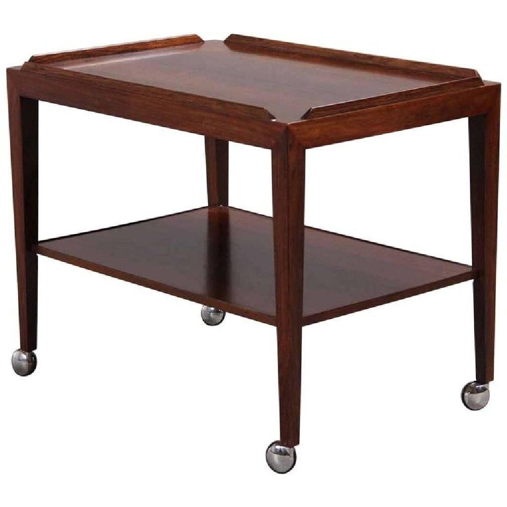 palisander beistelltisch auf rollen von haslev 1960er bei pamono kaufen. Black Bedroom Furniture Sets. Home Design Ideas
