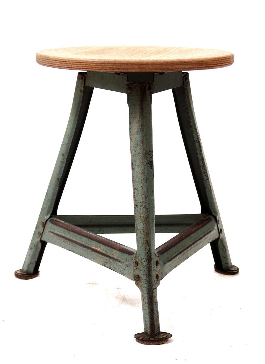 tabouret industriel vintage en acier et h tre en vente sur pamono. Black Bedroom Furniture Sets. Home Design Ideas