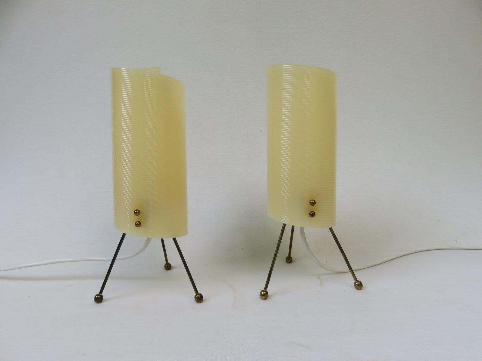 Dreifuß Nachttischlampen mit Plexiglas Leuchten in Beige, 1950er, 2er ...