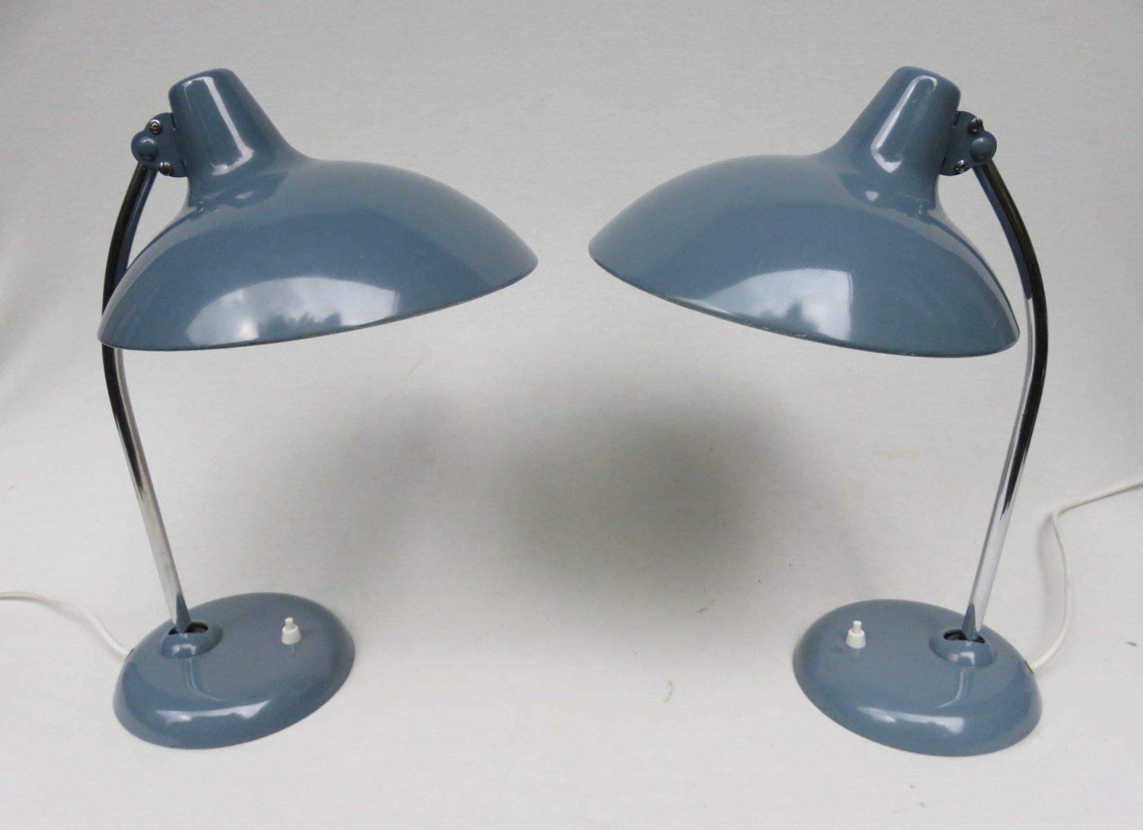 Chrom Tischlampen in Taubenblau von Kaiser Leuchten, 1950er, 2er Set