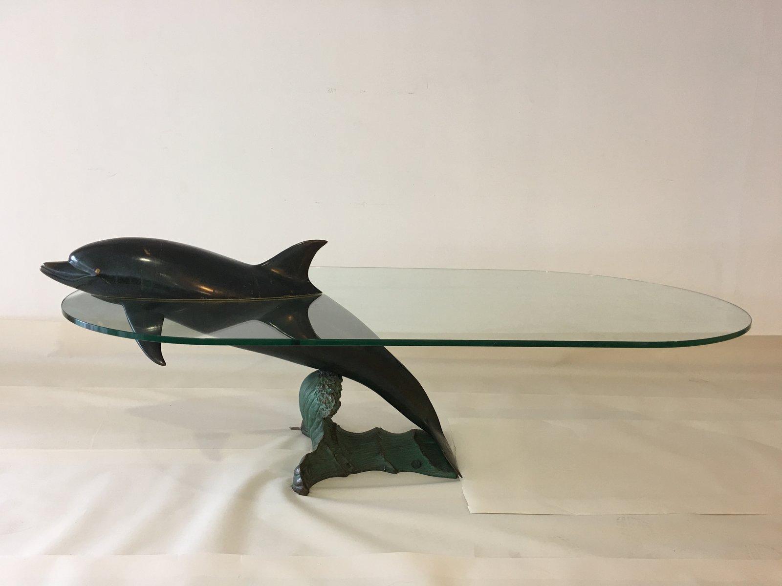 Spanischer Bronze Delfin Couchtisch von Valenti, 1980er