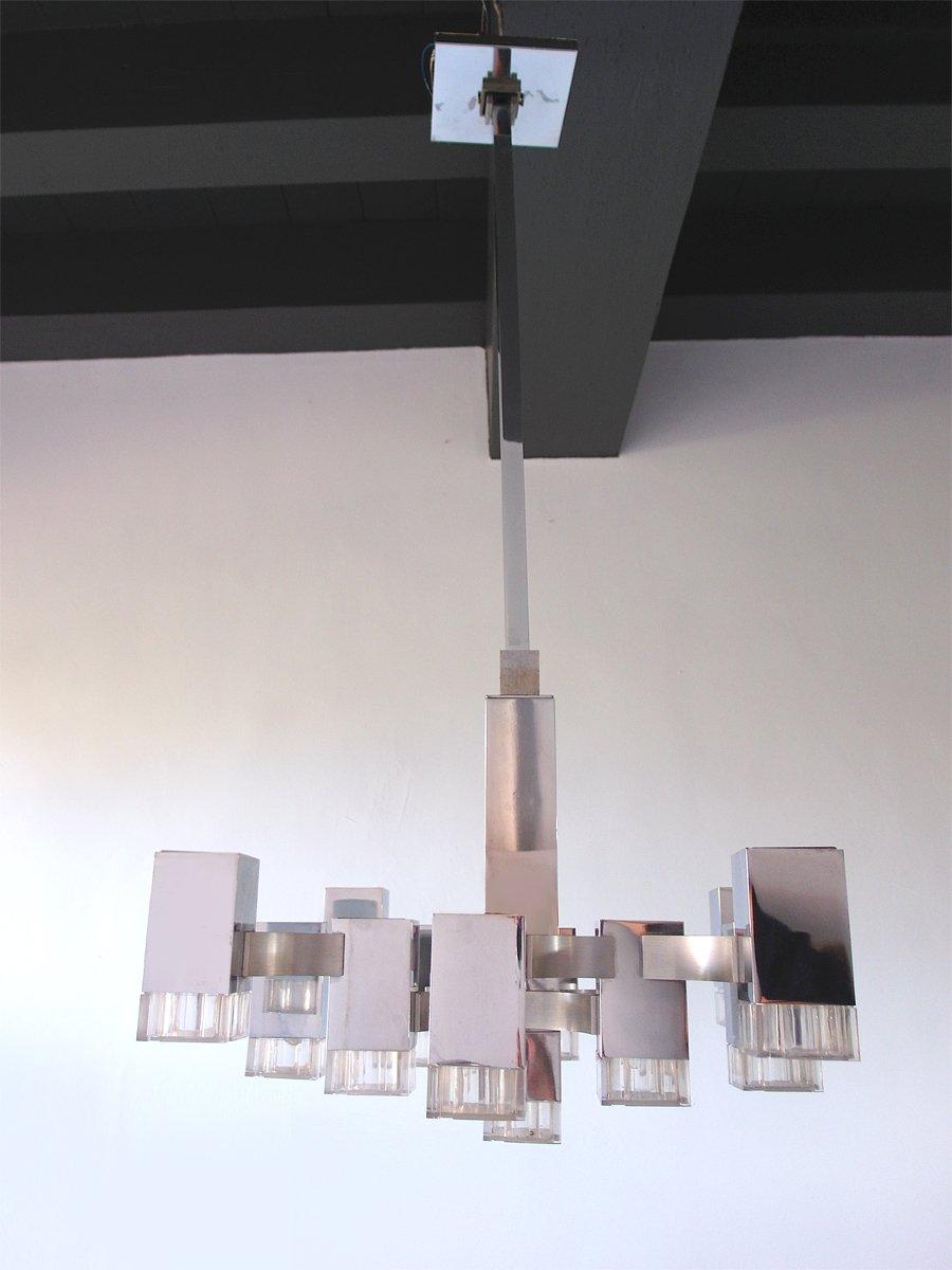 Kronleuchter mit 13 Leuchten aus Metall & Lucite von Gaetano Sciolari,...