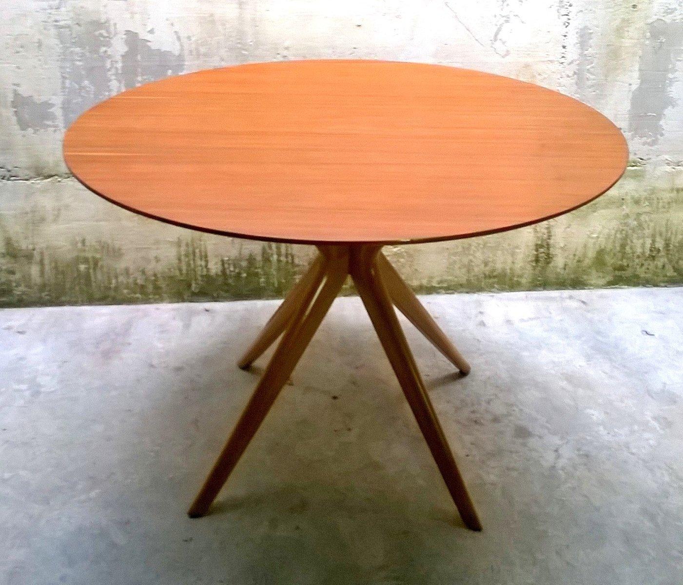 Runder Italienischer Buchenholz Tisch, 1950er