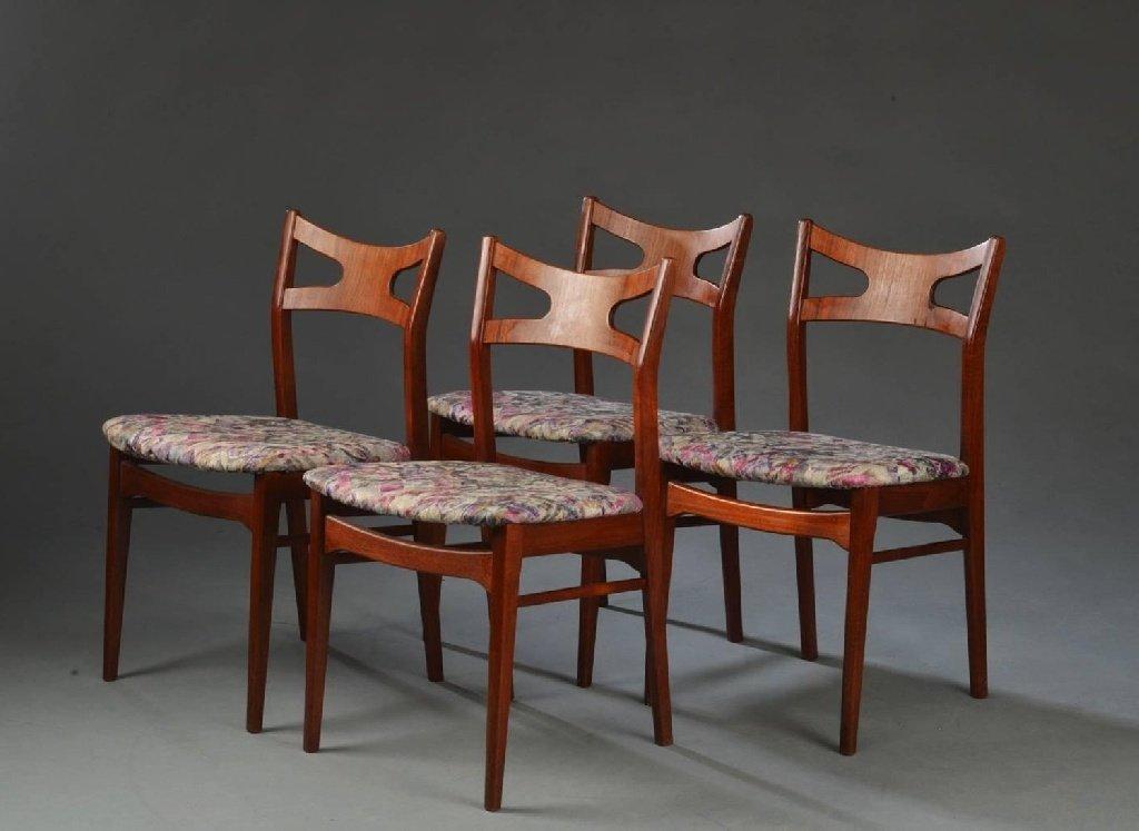 florale teak esszimmerst hle 1960er 4er set bei pamono kaufen. Black Bedroom Furniture Sets. Home Design Ideas