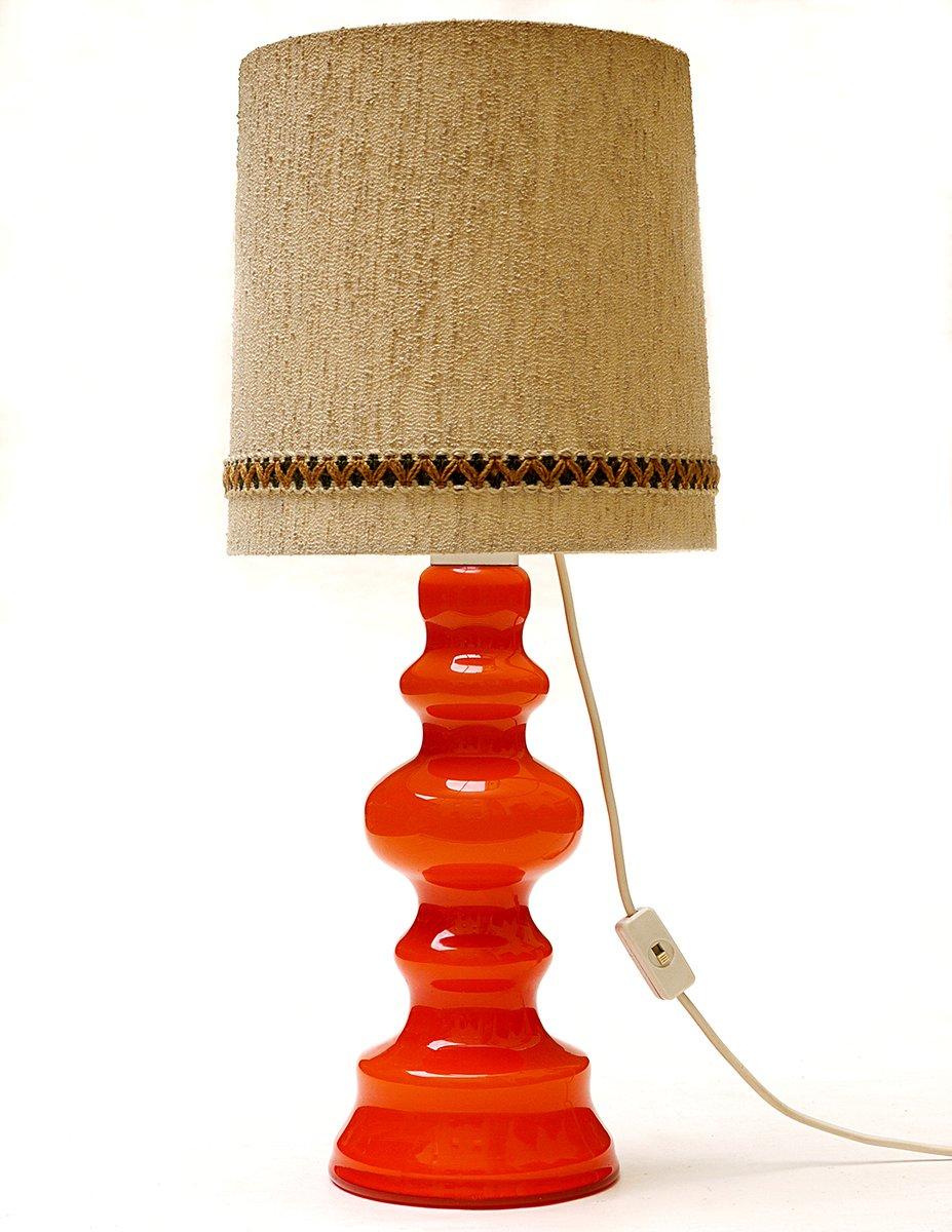 Deutsche Orangenfarbene Glas Tischlampe, 1960er