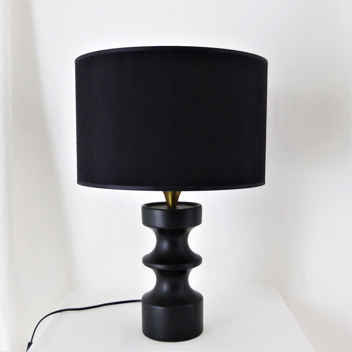 schwarze keramik schachspielfigur lampe 1950er bei pamono kaufen. Black Bedroom Furniture Sets. Home Design Ideas