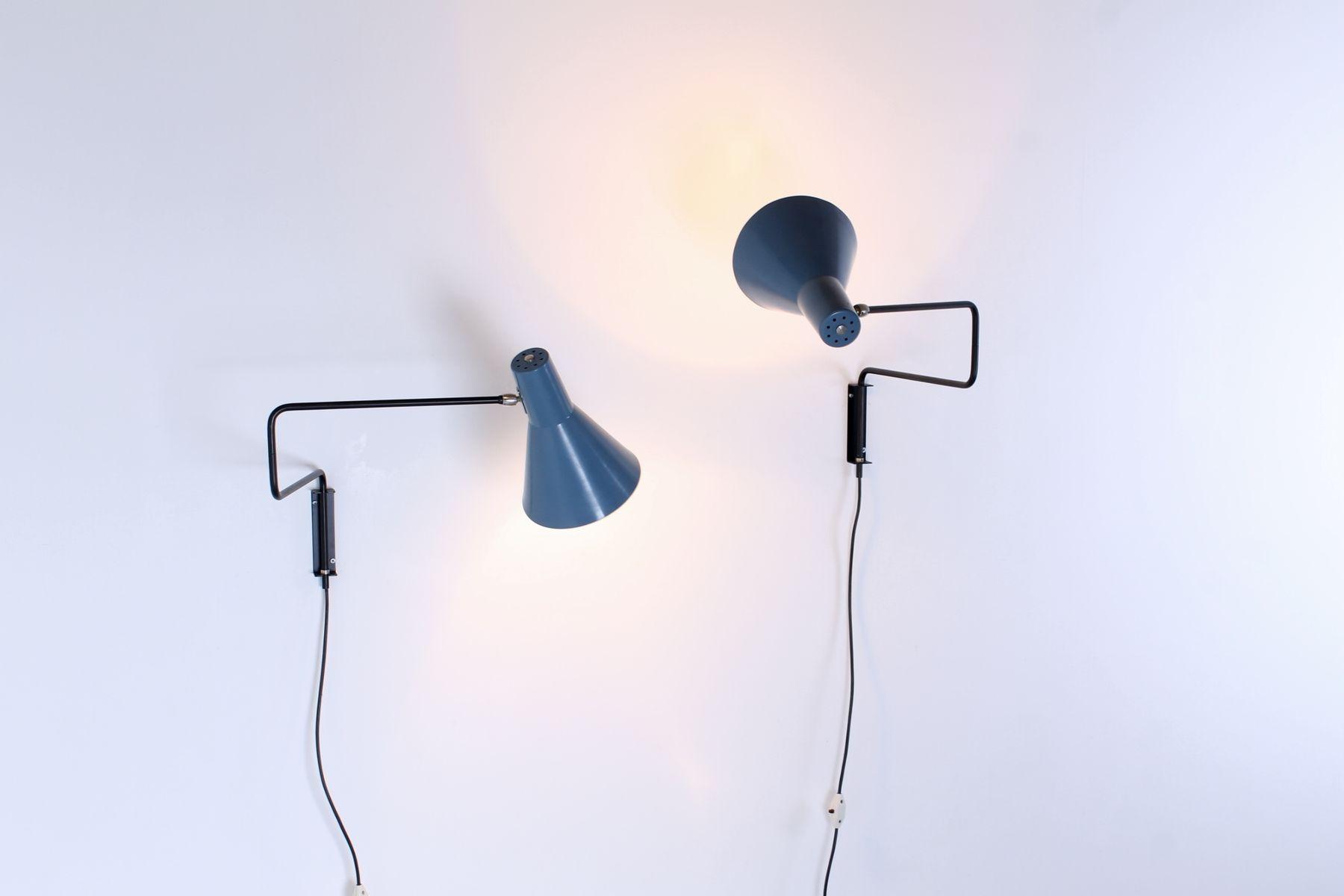 Vintage Paperclip Elbow Wandlampen von J. J. M. Hoogervorst für Anvia,...