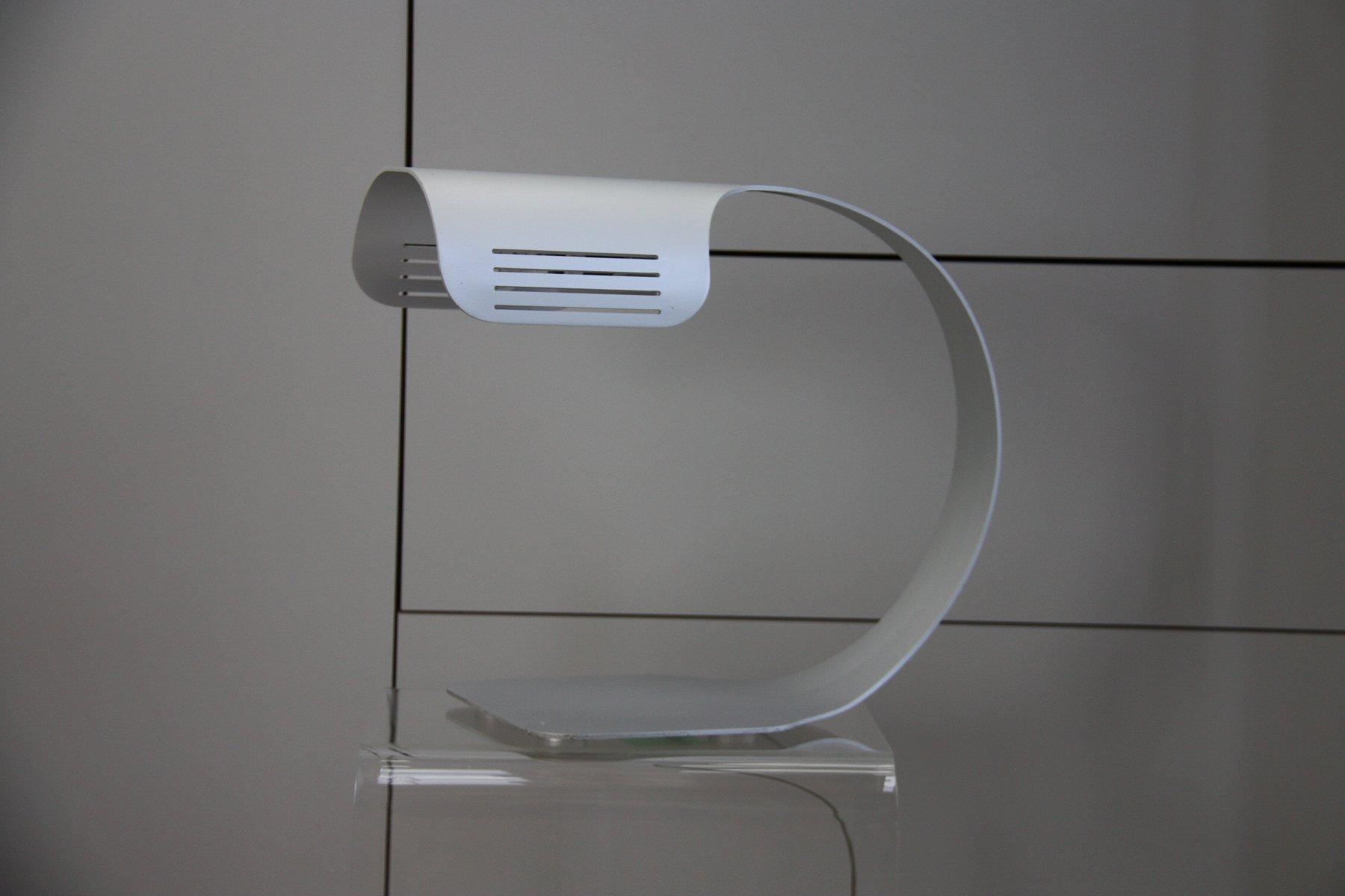 Lampe de bureau vintage en aluminium brossé par walter moretti
