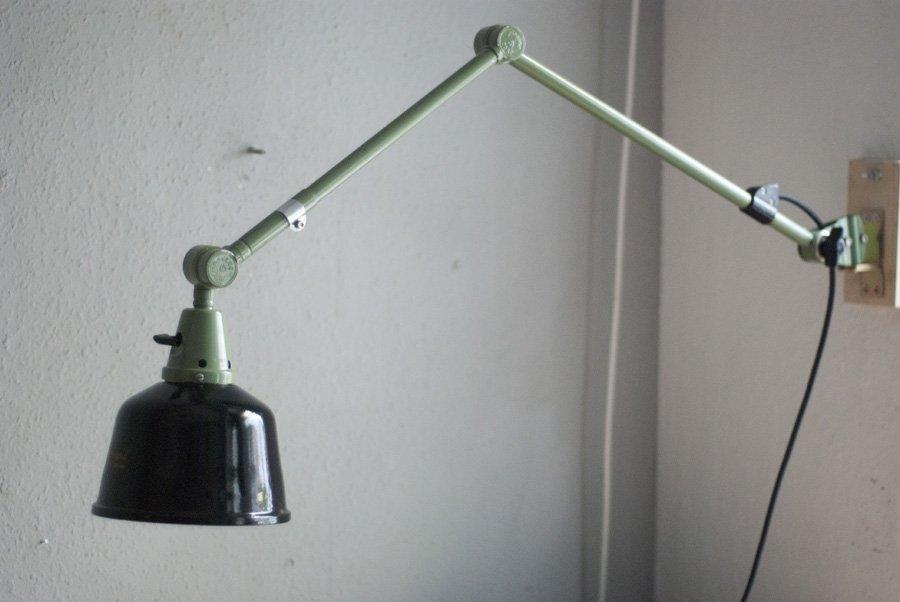 Grüne Vintage Lampe mit Emailliertem Schirm von Curt Fischer für Midga...