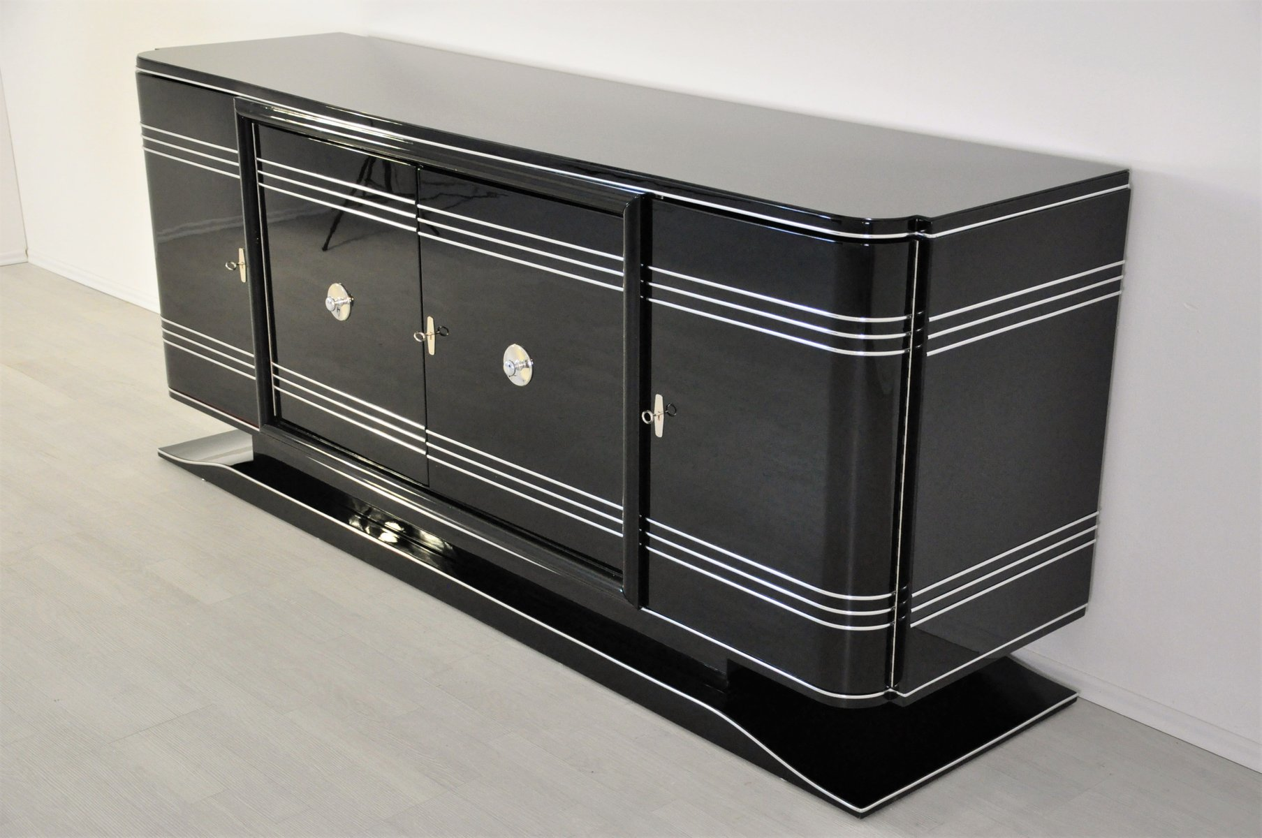 large art deco sideboard with red bar compartment for sale at pamono. Black Bedroom Furniture Sets. Home Design Ideas