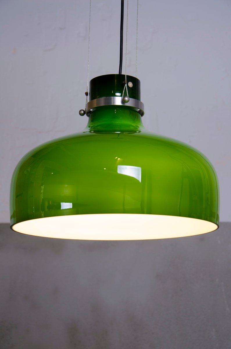 Grüne Glas Hängelampe von Holmegaard, 1960er