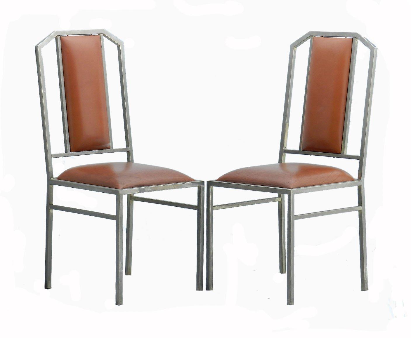 Sedie Di Metallo Vintage : Sedie da pranzo vintage in metallo e pelle di maison jansen set