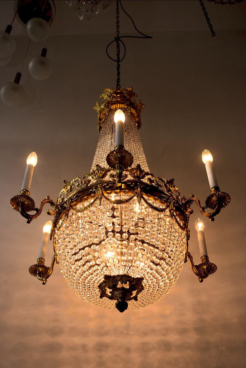 chandelier en bronze dor france 19 me si cle en vente sur pamono. Black Bedroom Furniture Sets. Home Design Ideas